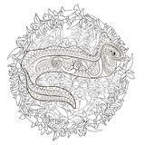 Illustration of a moray in zentangle style. Ugly and creepy fish with high details for anti stress coloring page, illustration of a moray in tracery style Stock Photography