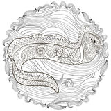 Illustration of a moray in zentangle style. Ugly and creepy fish with high details for anti stress coloring page, illustration of a moray in tracery style Royalty Free Stock Photos