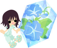 The illustration of morning glory and a girl Stock Photos