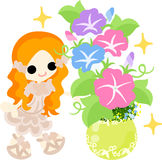The illustration of morning glory and a girl Royalty Free Stock Images