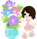 The illustration of morning glory and a girl Stock Images