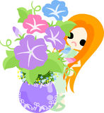 The illustration of morning glory and a girl Stock Photography