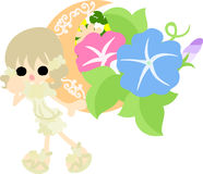 The illustration of morning glory and a girl Royalty Free Stock Image