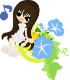 The illustration of morning glory and a girl Royalty Free Stock Photo