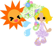 The illustration of morning glory and a girl Stock Image