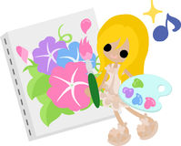The illustration of morning glory and a girl Stock Photo