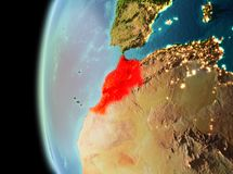 Evening view of Morocco on Earth. Illustration of Morocco as seen from Earth's orbit in late evening. 3D illustration. Elements of this image furnished by royalty free stock images
