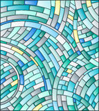 Illustration of a mosaic, with curved tiles in blue tones Stock Image