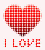 Illustration of mosaic heart on the pink background Royalty Free Stock Images