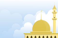 Illustration of mosque with cloudy skies background. Stock Photography
