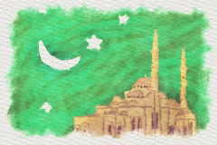 Illustration mosque Stock Photos