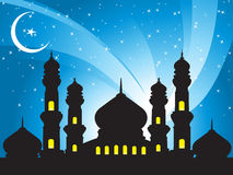 Illustration,mosques in the moon night Stock Photos