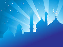 Illustration of mosques in over bright night sky Stock Photography