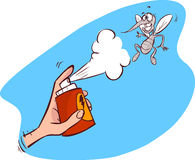 An illustration of a mosquito gets hit spray Royalty Free Stock Photography