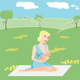 Illustration mother is breastfeeding the baby 210 Royalty Free Stock Photography