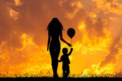 Mother and child with balloon at sunset. Illustration of mother and child with balloon at sunset Royalty Free Stock Images
