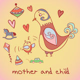Illustration, mother and child. Birds. Stock Photography