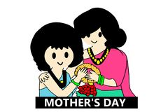 Illustration of mother and daughter. Cartoon asean Thailand for monthers day on white background. Character, color, diamond, bangkok, logo, sign, symbol stock illustration
