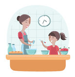Illustration of a Mother and Daughter Cooking Together Stock Photography