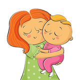 Illustration of mother holding little daughter  Stock Photo