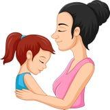 A mother hugging her daughter royalty free illustration