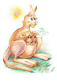 Illustration of mother kangaroo with kids Royalty Free Stock Photo