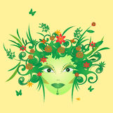 Illustration of mother nature face Royalty Free Stock Photo