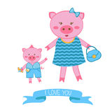 Illustration of mother pig and piglet Stock Photography