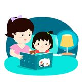 A  illustration of a mother reading a bedtime story to her. Daughter Royalty Free Stock Photo
