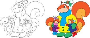 Before and after illustration of a mother squirrel with her two children, dressed for winter, for coloring book stock illustration