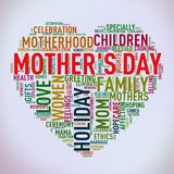 Mothers day heart shape wordcloud wordtag stock images