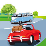 Motor caravan and sports car. Illustration of motor caravan (or minibus ) and red sports car with suitcase on the luggage rack traveling on a country road Stock Photo