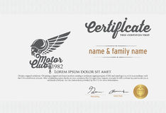 Illustration of motor club certificate Royalty Free Stock Image