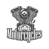 Illustration of motorcycle engine. Monochrome style. Black and white vector Stock Images