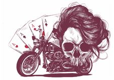 Illustration Motorcycle woman skull with playing cards poker royalty free stock images