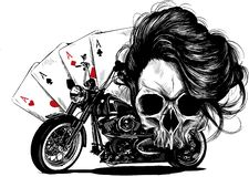 illustration Motorcycle woman skull with playing cards poker royalty free illustration