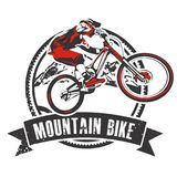 Mountain biker badge with banner Stock Image