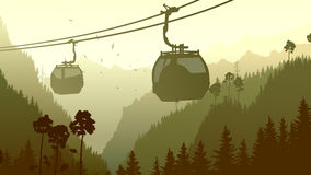 Illustration of mountain forest in gren tone. Horizontal illustration mountains coniferous wood with ski lift in green tone Royalty Free Stock Photos