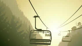 Illustration of mountain forest with ski lift. Horizontal illustration mountains coniferous wood with ski lift in green tone Stock Images