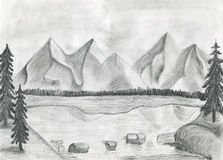 The illustration of a mountain lake. Pencil illustration of a mountain lake vector illustration
