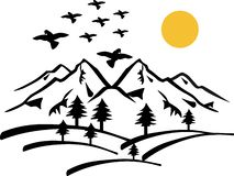 Mountain landscape with birds royalty free stock photography