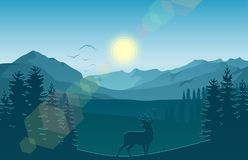 Mountain landscape with deer and forest at morning. Illustration of Mountain landscape with deer and forest at morning Stock Photo