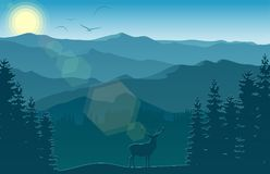 Mountain landscape with deer and forest at morning. Illustration of Mountain landscape with deer and forest at morning Stock Photos