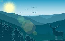 Mountain landscape with deer and forest at morning. Illustration of Mountain landscape with deer and forest at morning Royalty Free Stock Photos