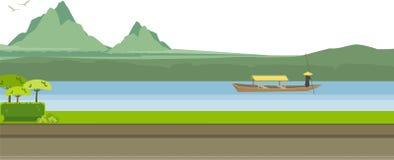 Illustration Mountain River Stock Photo