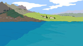 Illustration of mountain and sea. Vector illustration of landscape with mountain and fields with houses and trees Royalty Free Stock Photo