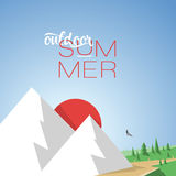 Illustration Mountain Summer with Style Text Stock Images