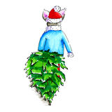 Illustration of mouse with Christmas tree Stock Images