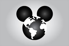 Illustration of mouse illustrating world media domination. HOLLYWOOD, USA, 15 December 2017 - Idea illustrating world media domination by Disney following Stock Photography