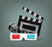 Illustration of movie objects with 3d glasses Stock Photos